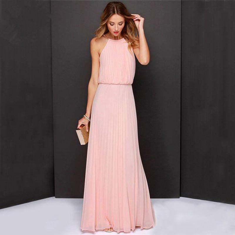 2018 Casual Long Dress Summer Sexy Maxi Dress Women Evening Party Dress <font><b>Vintage</b></font> Beach Boho Chiffon Dress Vestido De Festa Longo