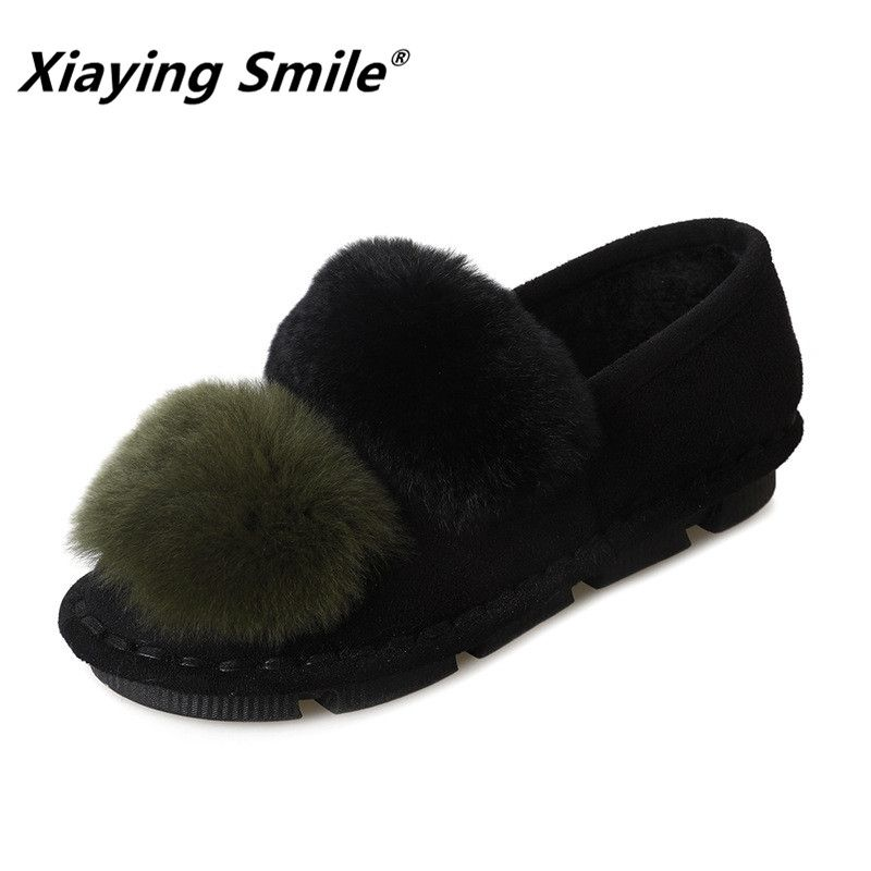 Xiaying Smile Women Snow Flats New Arrive Women Fashion Casual Keep Warm Short Plush Shoes Popular Faux Fur Mixed Crolors Shoes