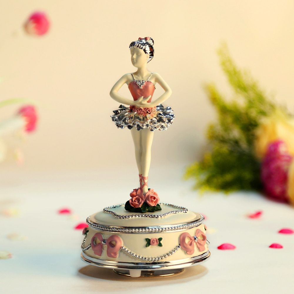 Ballet dance girl music box exquisite fashion gold plated quality gift ballerina rotating music box