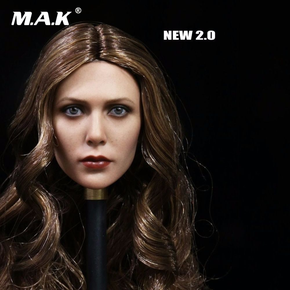 1:6 Scale Collectible Figure Elizabeth Olsen Scarlet Witch Head Sculpt 3.0 Female Head Carving Model Toys for 12'' Figure Body