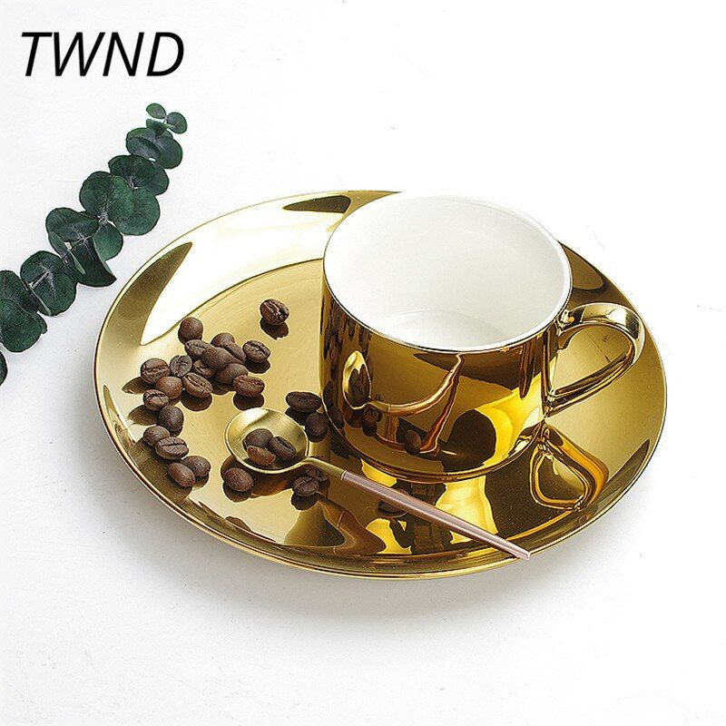 Silver gold plate coffee mugs tea milk cups pure color mark plates creative drinkware coffeeware