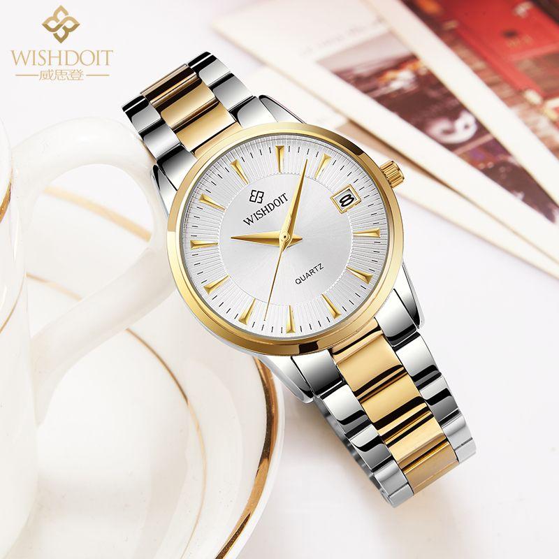 WISHDOIT new watch women fashion luxury watch Relojes Mujer Stainless Steel Quartz Women Watches <font><b>zegarek</b></font> damsk montre femme
