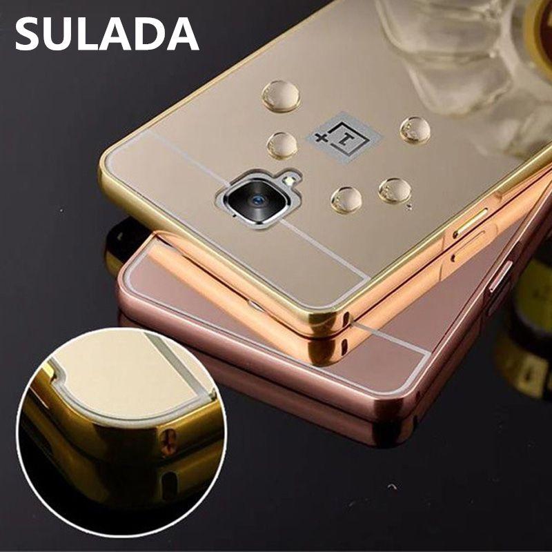Oneplus 3 Cas Couverture De Luxe En Métal En Aluminium Cadre + Miroir Acrylique Couverture Arrière de batterie Pour Un plus 2 3 T X Cas Téléphone accessoires