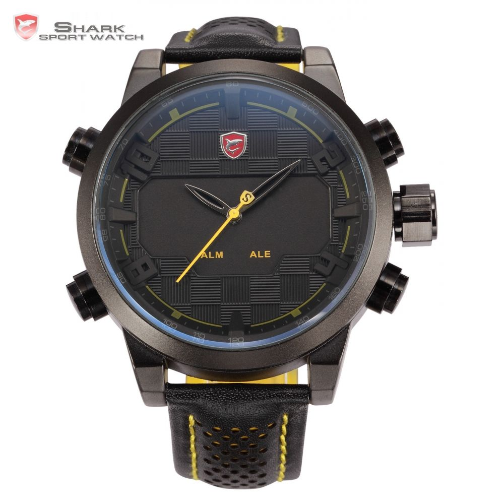 Sawback Angel Shark Sport Watch Mens Black Yellow Digital Dual Movement 3D Logo Steel Case LED Watches Leather Wristwatch /SH204