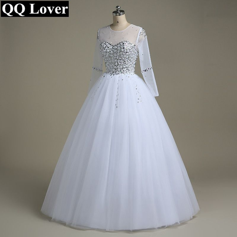 QQ Lover Wedding Dress 2018 Vestido De Noiva Long Sleeve Bridal Gown Rhinestones Pearls Crystals Ball Gown Robe De Mariage