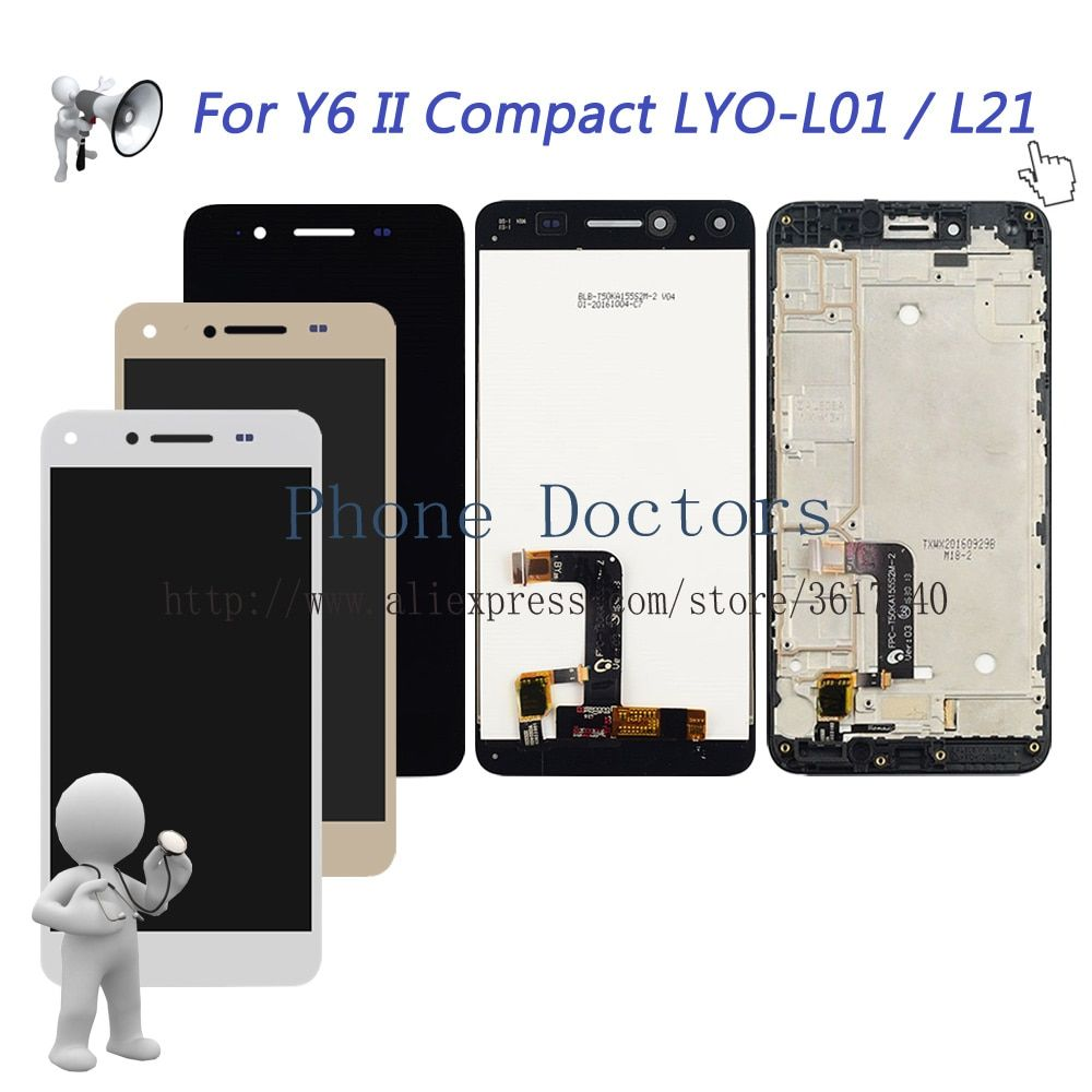 5.0'' Full LCD DIsplay + Touch Screen Digitizer Assembly +Frame Cover For Huawei Y6 II Compact LYO-L01 LYO-L21 ;New ;100% Tested