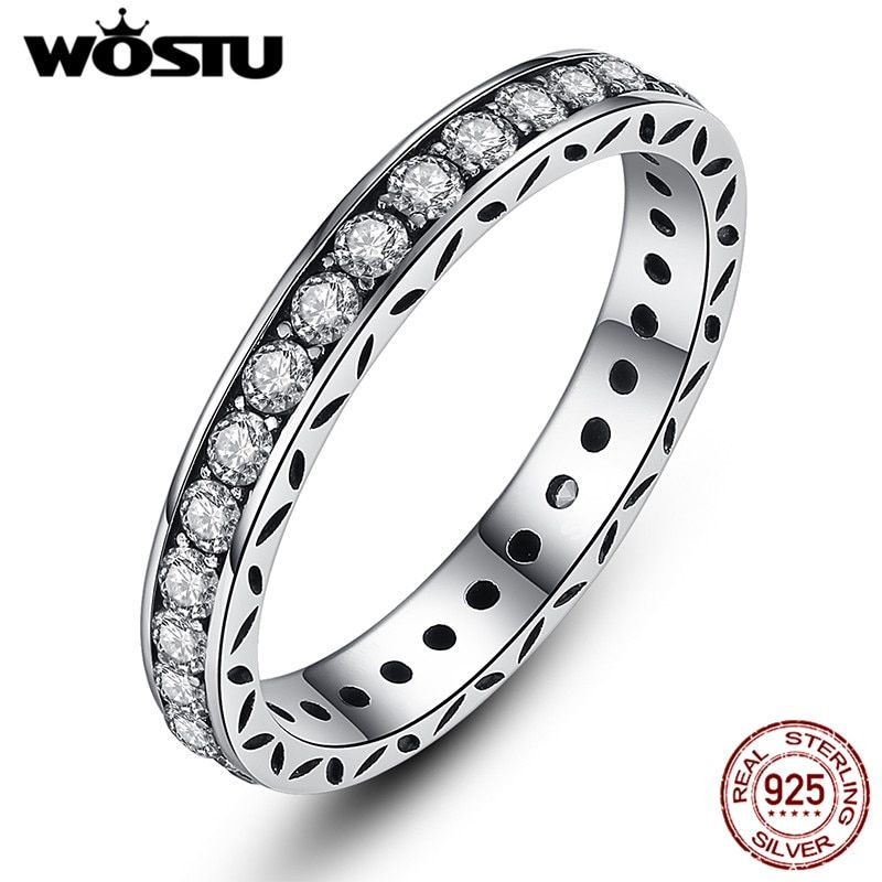 WOSTU Authentic 100% 925 sterling Silver Rings with Crystal For Women Original Brand S925 Ring Jewelry FB7119