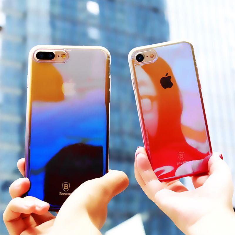 Baseus Dégradé Coloré Téléphone étui pour iPhone 7 En Plastique Dur Ultra Mince Couverture Arrière Pour iPhone 7 Plus étui de protection Coque