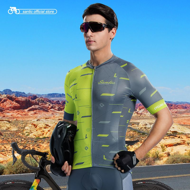 Santic Men Cycling Short Sleeve Jersey Race Fit Bike Jersey Shirt Cycling Summer Jerseys Cycling Team Shirt Asia S-2XL M8C02133