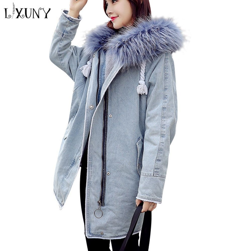 LXUNYI New Autumn Winter Denim Parka Women 2018 Real Fur Hooded Ladies Coats Midi Length Thick Warm Casual Loose Feminine Coat