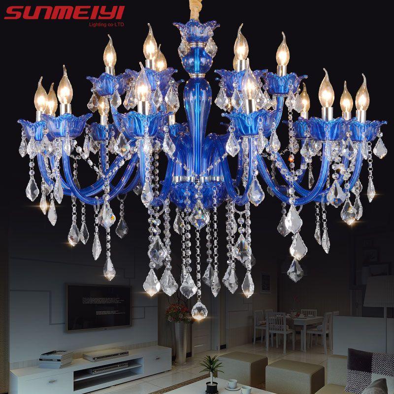 New Modern Blue crystal chandeliers for Living room Bedroom indoor lamp K9 crystal lustres de teto ceiling chandelier