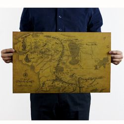The Lord of the Rings MIDDLE EARTH MAP Vintage Kraft Paper Movie Poster School Office Decor Globe World Map Art Retro Prints