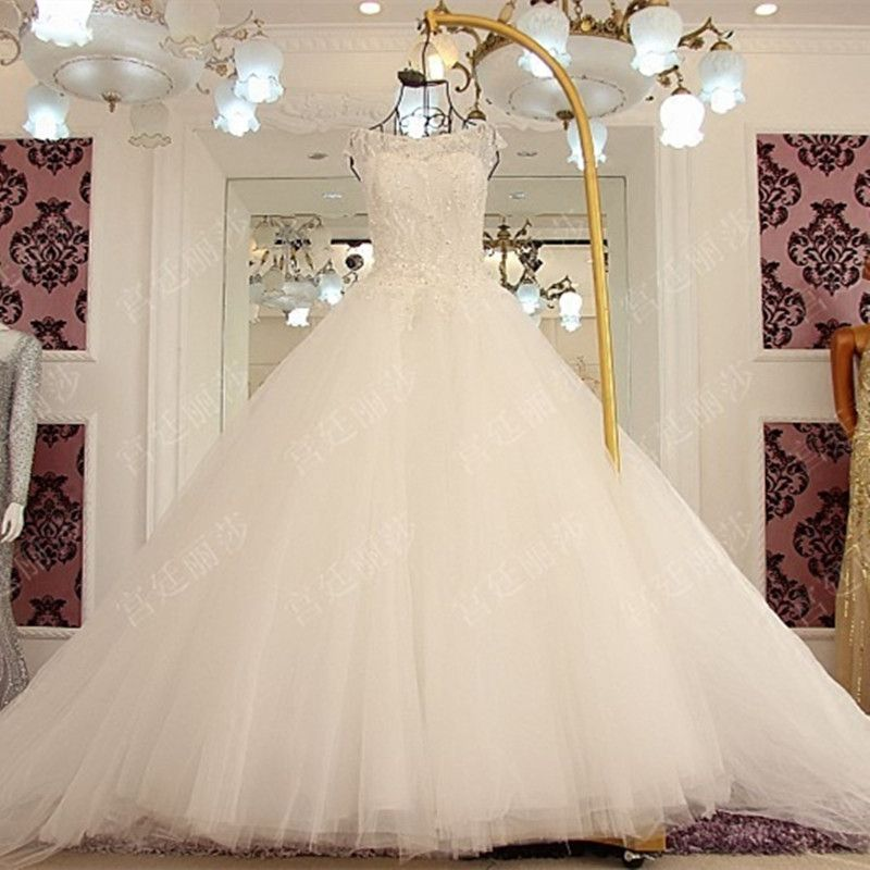 A line Tulle Lace Beading Sequins Flowers Arab Wedding Dress 2017 High Quality Bridal Gown GW3