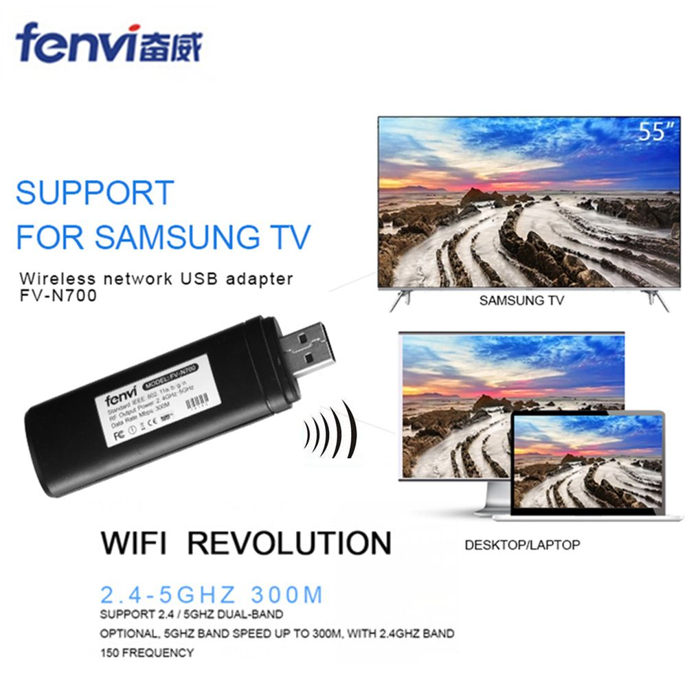 Fenvi Original Wireless WLAN LAN USB for Samsung TV Network <font><b>Card</b></font> WiFi Dongle Adapter 5G 300Mbps Smart TV WIS12ABGNX WIS09ABGN PC
