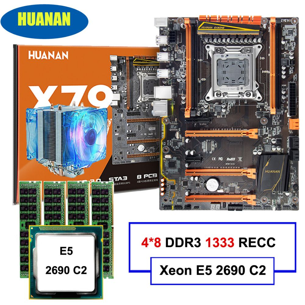 HUANAN deluxe X79 LGA2011 motherboard CPU RAM combos Xeon E5 2690 C2 with cooler RAM 32G(4*8G) DDR3 1333MHz RECC all good tested