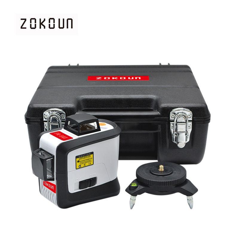 Zokoun 12 líneas 3D 94 t auto-nivelación 360 horizontal y vertical Cruz Super potente línea de haz de láser rojo nivel láser