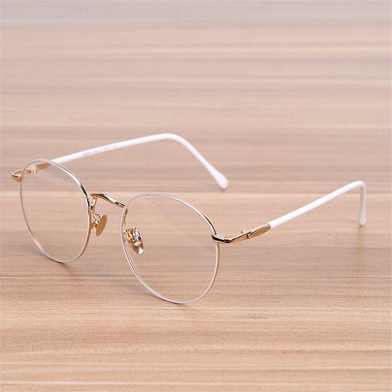 NOSSA classique grand cadre rond lunettes femmes Vintage métal blanc lunettes femme élégant montures de lunettes étudiant optique cadre