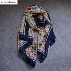 L-azyseason 2018 Écharpe De Mode De Luxe Femmes Marque Foulard De Soie Femmes Foulards Châle de Haute Qualité Imprimer hijab wrap 180*90 CM