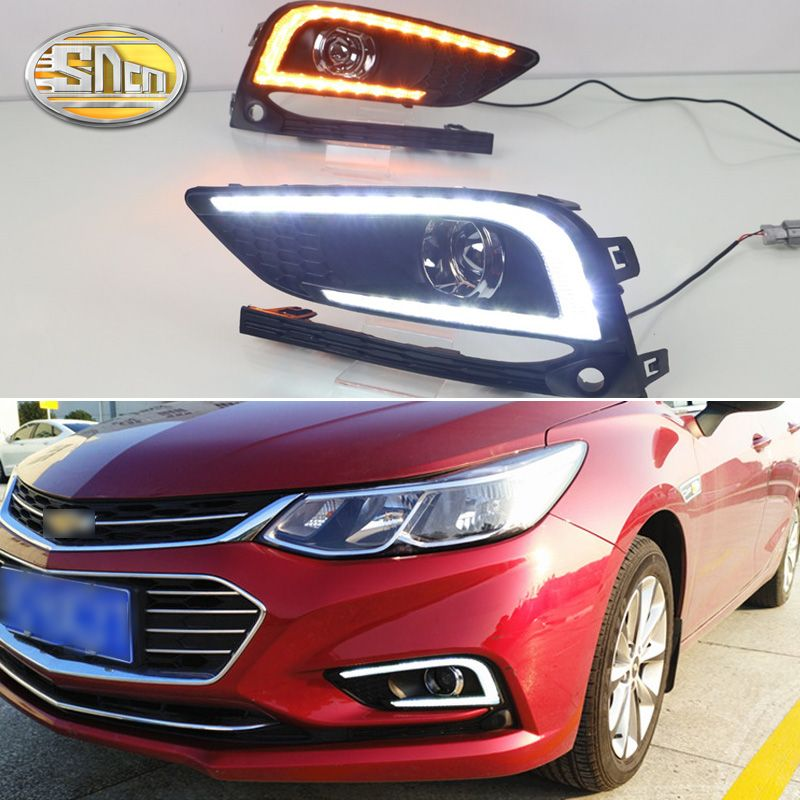 For Chevrolet Cruze 2016 2017 Daytime Running Lights LED Fog lamp DRL with Yellow Turn Signal Function Relay