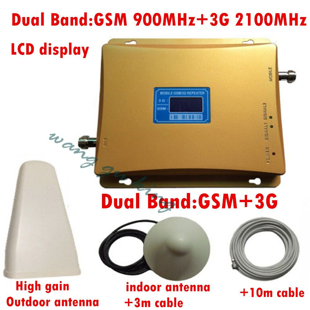 GSM 3G Repeater Dual Band GSM 900 MHz 2100 MHz W-CDMA UMTS Repetidor 3G Antenne Signalverstärker 2G 3G Handy Booster Sets