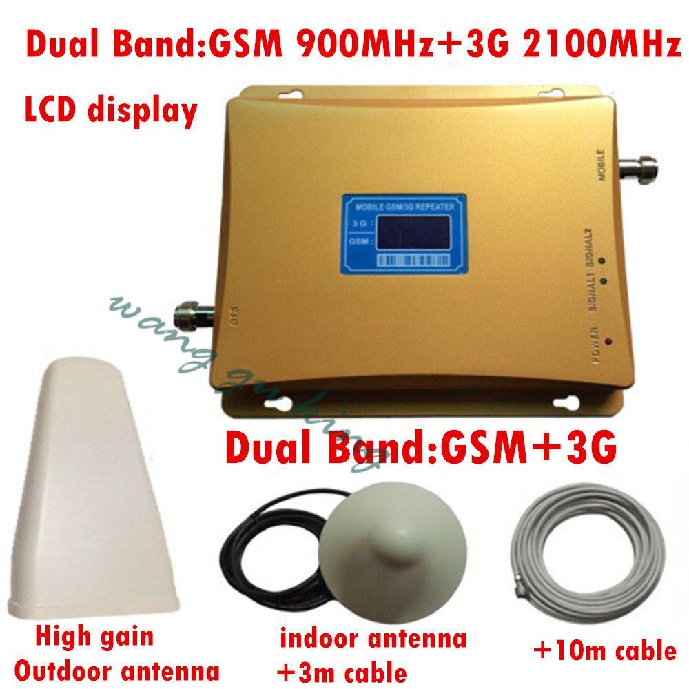 GSM 3G Répéteur Dual Band GSM 900 MHz 2100 MHz W-CDMA UMTS Repetidor 3G Antenne Amplificateur de Signal 2G 3G Téléphone portable Booster ensembles