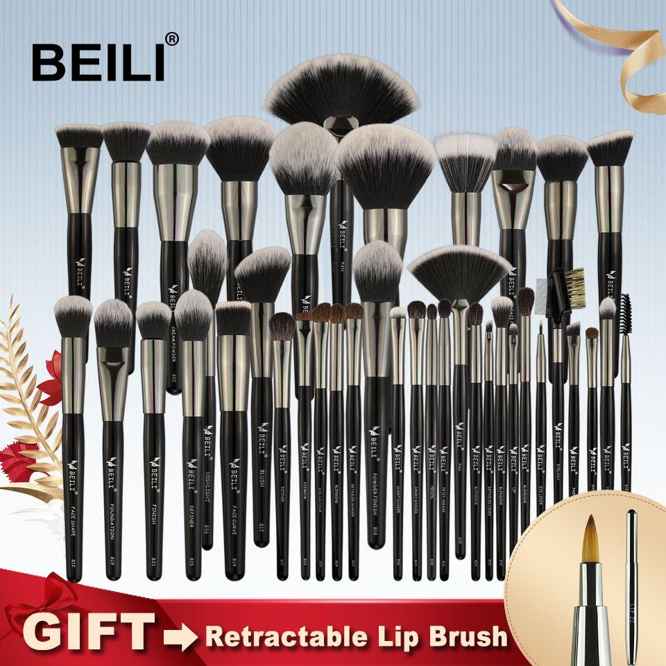 BEILI Black Professional 40 Pieces Makeup Brushes Set Soft Natural bristles powder Blending Eyebrow Fan Concealer Foundation