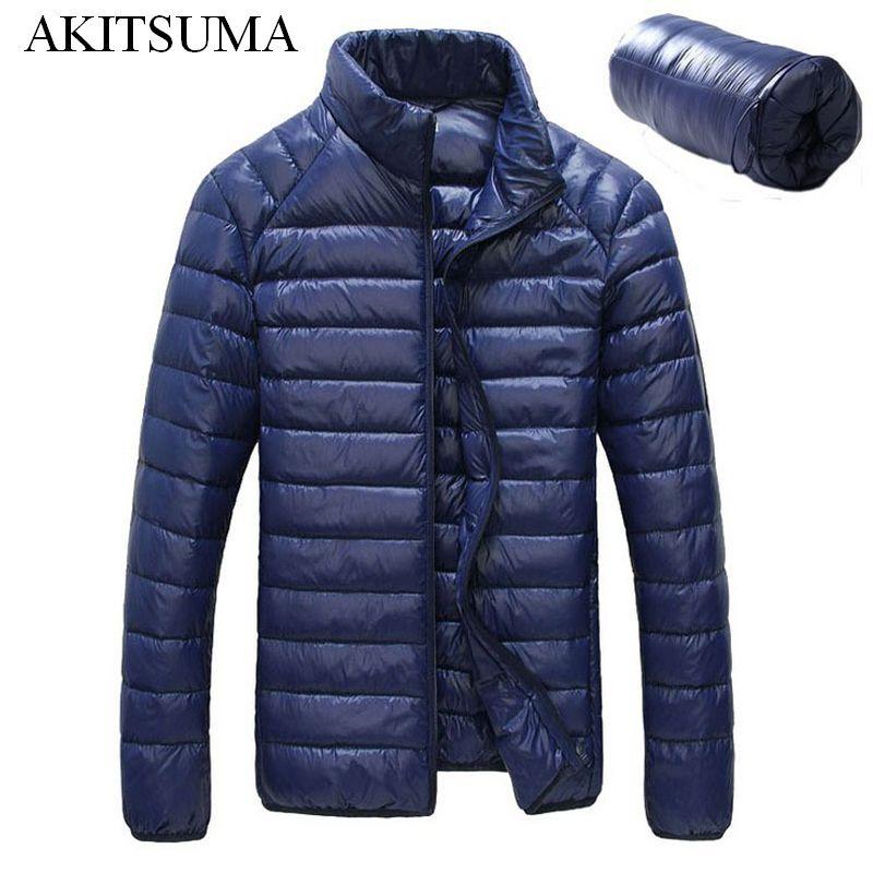 Winter Duck down jacket men 90% Down Content thin ultra light down jacket winter long sleeve solid winter coats pocket AKITSUMA