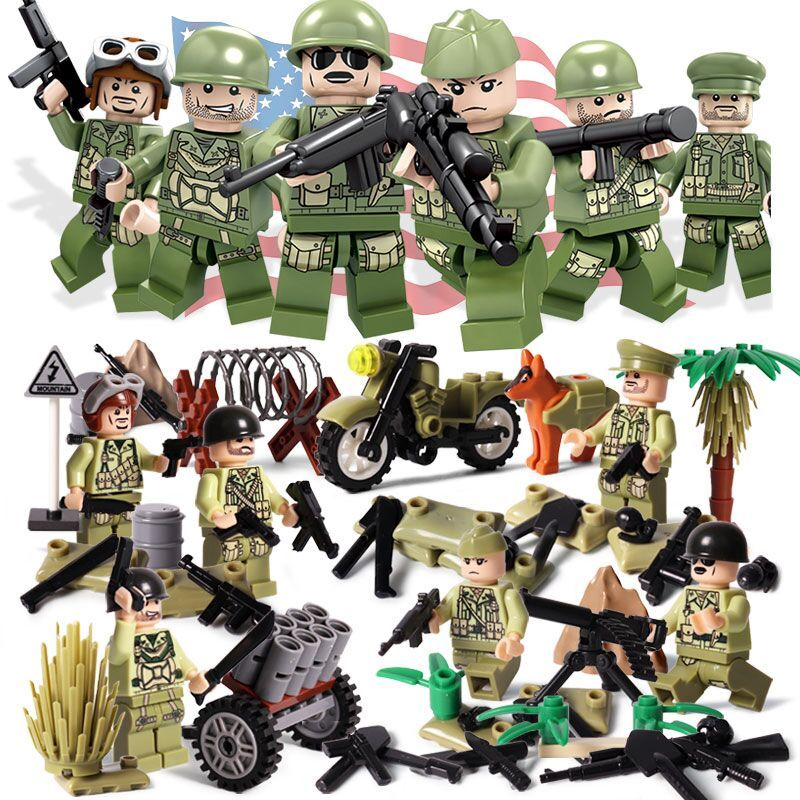 Oenux New Arrival 6PCS WW2 The Pacifice War Of Hacksaw Ridge Military Building Block Set USA Army Soldiers Figures MOC Kids Toy