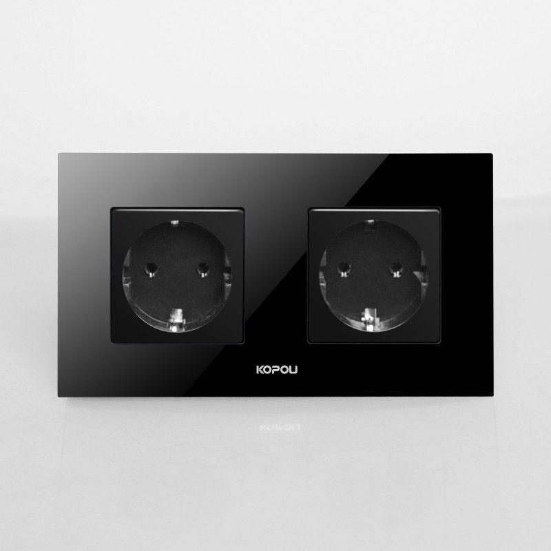 Livraison gratuite, L'UE Double Prise de Courant Schuko, noir Panneau Verre Cristal, 16A UE Prise Murale Standard KP002EU-B