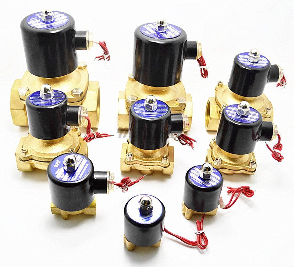 Electric 2W Solenoid Valve Brass Pneumatic Valve NC for Water / Oil / Gas 1/8'' 1/4'' 1/2''