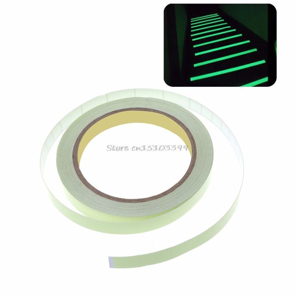 10mm x 10 mt Leucht selbstklebende Glow In The Dark Sicherheits Bühne Aufkleber Wohnkultur Klebstoffe versiegelungen G08 Drop ship