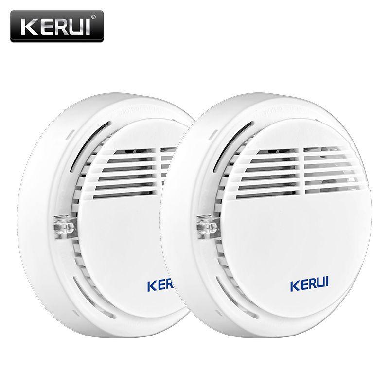 Kerui 2 шт. Беспроводной охранной сигнализации Дым пожарный извещатель/Сенсор для дома Офис gsm sms сигнализации