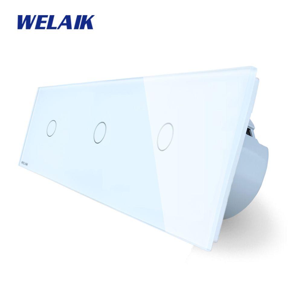 WELAIK Brand 3Frame Crystal Glass Panel EU Wall Switch EU Touch Switch Screen Light Switch 1gang1way AC110~250V A39111111CW/B