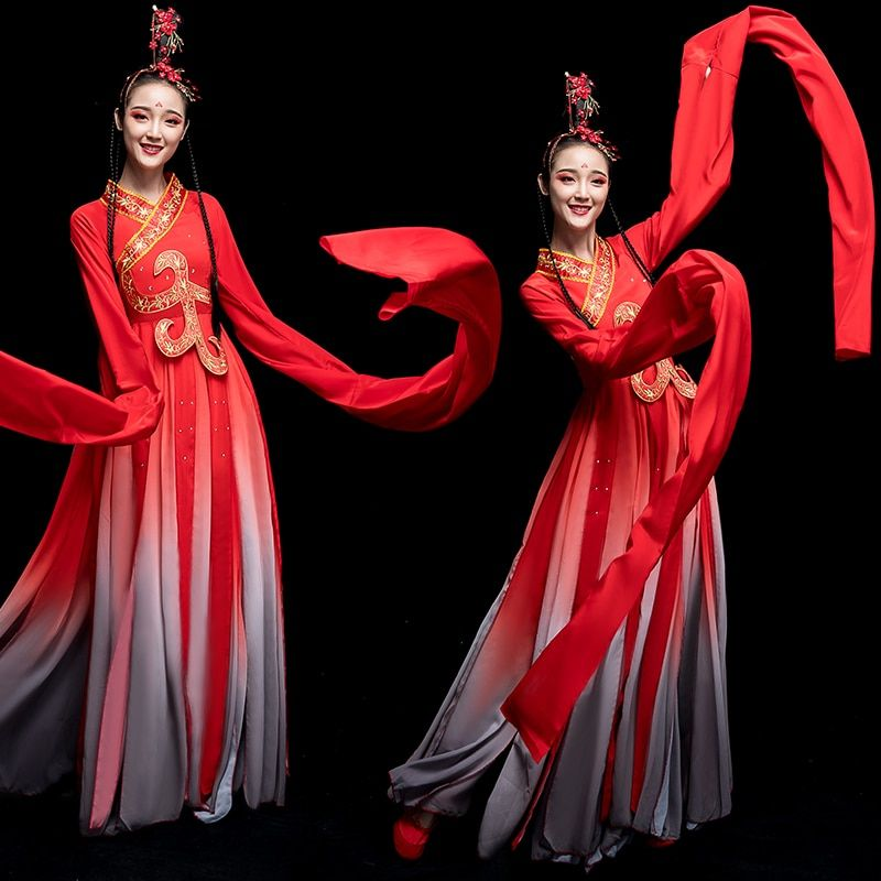 2019 new chinese classical dance clothes hanfu ancient costume fairy set yellow green full sleeves water sleeves set