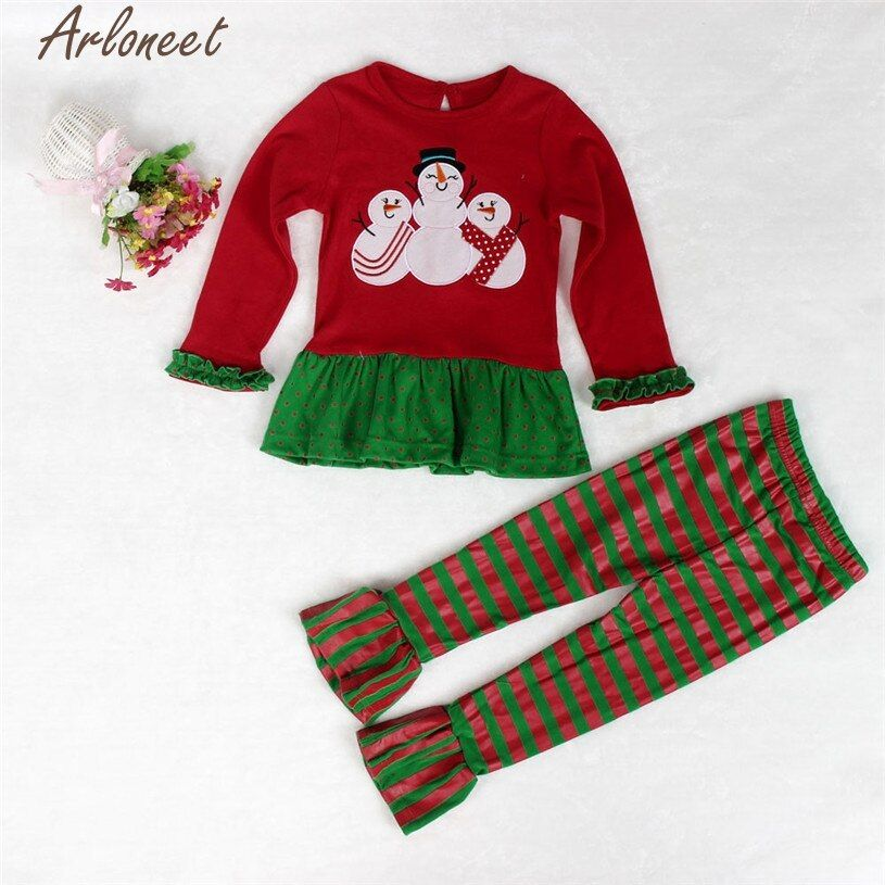 Newborn Baby Long Sleeve Christmas Snowman Printed Top Shirt +Pants Outfits Set