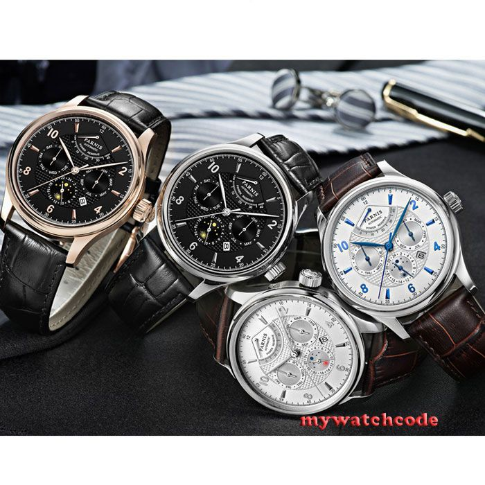 Luxury Brand 42mm parnis black dial white dial Date 24 hour Power Reserve Moon Phase miyota 9100 automatic mens wrist watch P560