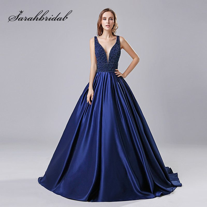 Sexy New Elegant Long Evening Dresses Satin Deep V-Neck Floor Length Sleeveless Prom Party Gown Court Train Beads Backless CC546