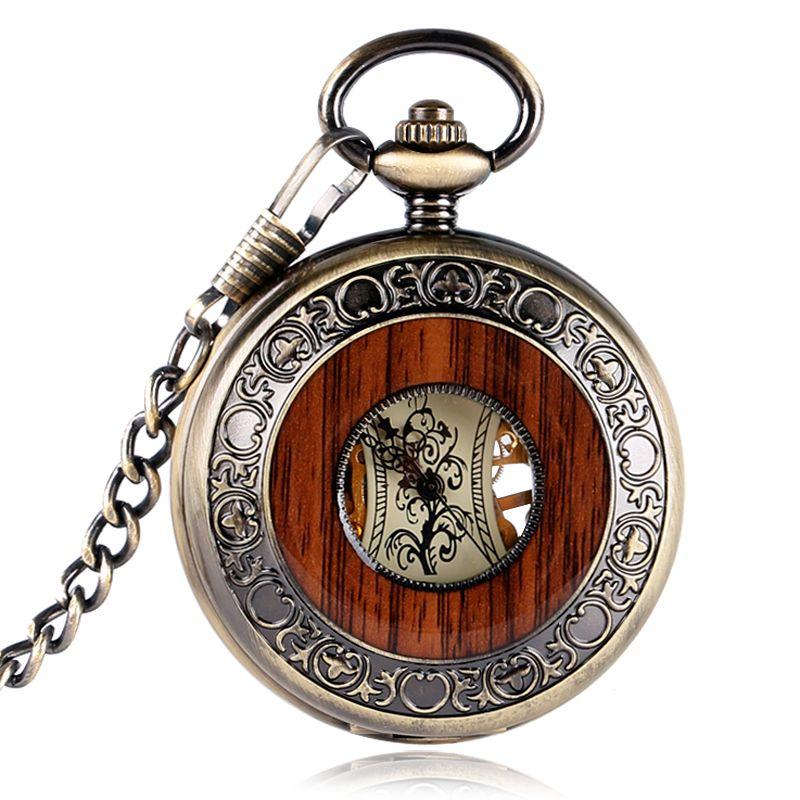 Ретро роскошь дерева круг Скелет карманные часы Для мужчин Для женщин унисекс Механическая ручным подзаводом римскими цифрами Цепочки и ож...