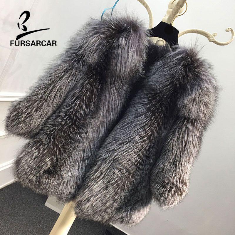FURSARCAR 2018 Neue Echtpelz Mantel Natürliche Pelz Mäntel Frauen Winter Warme Silber Fuchs Pelz Jacke 60 cm Lange Echte leder Pelz Mantel