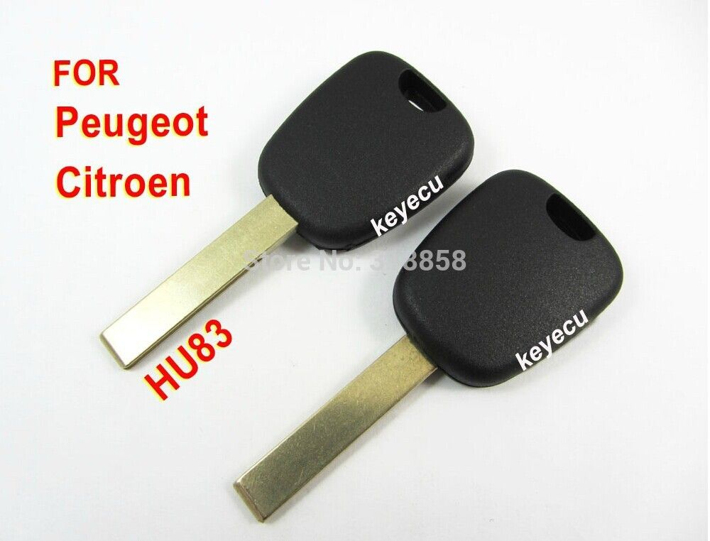 KEYECU Transponder key For Citroen C2 C3 C4 Picasso C5 C6 Berlingo With Chip ID46 +Uncut Blade HU83 Without Logo