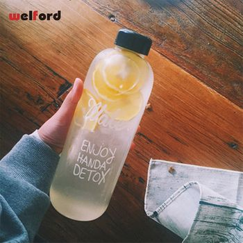 1000ml Fashion Scented Large Water cup with Bag Water Bottle Capacity Portable BPA Free Fruit Lemon Juice Drinking Bottle