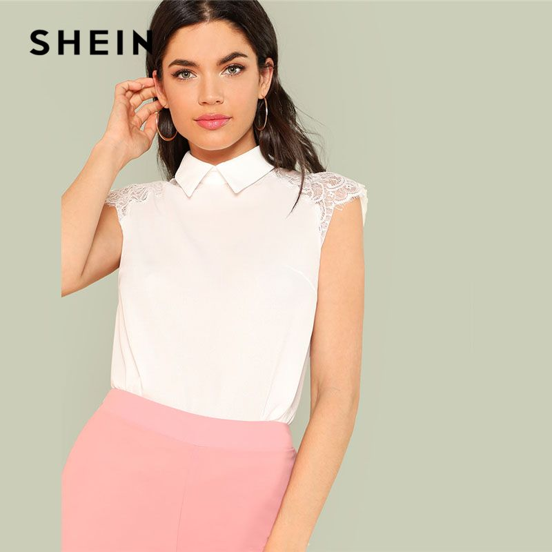 SHEIN White Floral Lace Cap Sleeve Blouse Women Peter Pan Collar Plain Top Clothing 2018 Summer New Weekend Casual Blouse