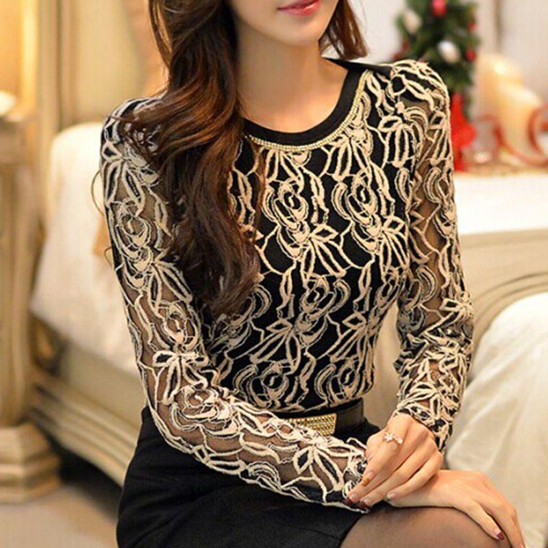 2017 nouveauté vêtement pour femme Femmes Coréennes Élégant Vintage chemise femme grande taille à manches longues Noir Dentelle blouse en mousseline de soie 651E05