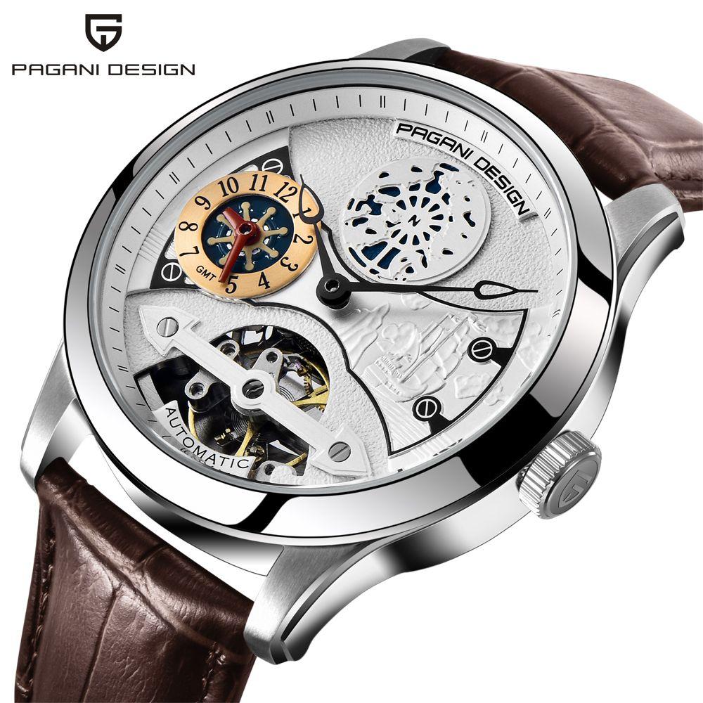2018 New Fashion PAGANI Leather Tourbillon Watch Luxury Brand Automatic Men Watch Men Mechanical Steel Watches Relogio Masculino