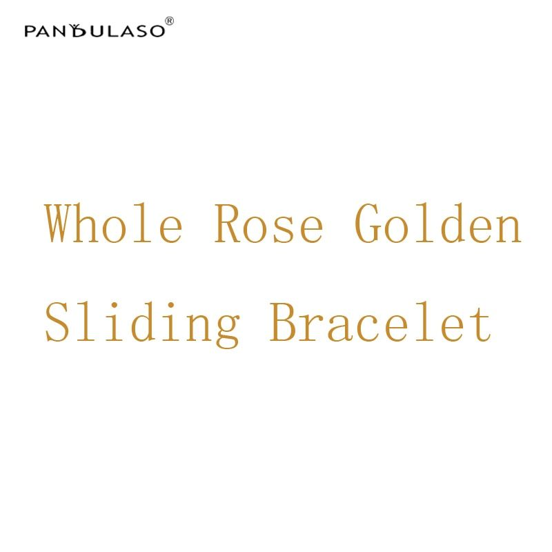 Pandulaso Rose Golden Sliding Bracelets for Women Fashion DIY Jewelry Snake Chain Charms Bracelets New Silver 925 Jewelry Gifts