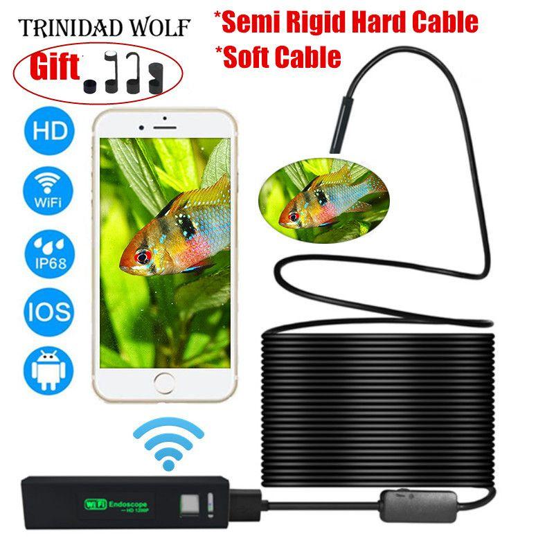 TRINIDAD WOLF Wifi Endoskop 8mm 1200 P HD Für Iphone Android Weicher Semi Starren Fest Rohr Schlange Kamera inspektion Endoskop