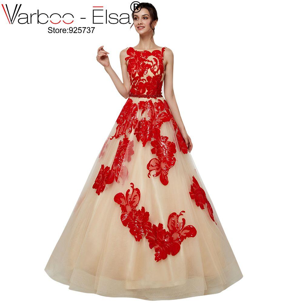 VARBOO_ELSA Mode Neue Spitze Pailletten rote Blume A-Line Abendkleid Vintage Backless Appliques lange Prom Party Formale Kleider