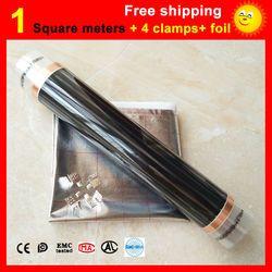 1 квадратный метр пол, пленочный + 4 зажимы + Алюминий фольги, AC220V инфракрасный пленочный 50 см х 2 м электрический подогреватель для комнаты