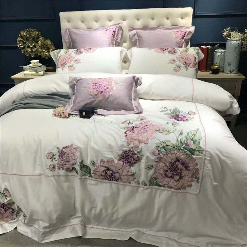 Luxus Weiß Ägyptischer Baumwolle Stickerei Bettbezug-set 4/7 Stück Doppel Königin König Größe Bettwäsche Set Bettlaken set Bett set