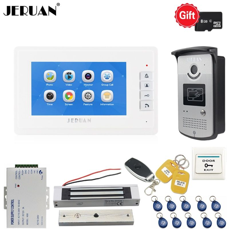JERUAN New 7 inch LCD Video Door phone Voice/Video Recording Intercom system kit RFID Access IR Camera With 180kg Magnetic lock